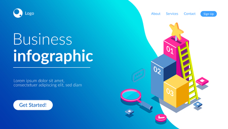 3d infographic for web template. Magnifying glass and ladder on a background of graphics. Can use for web banner, infographics, hero images. Flat isometric vector illustration. Standard-Bild - 124884725