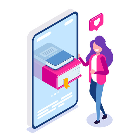Online library concept. Books in your phone or tablet. Young girl love to read. Can use for web banner, infographics, hero images. Vector isometric 3d illustration. Standard-Bild - 124884727