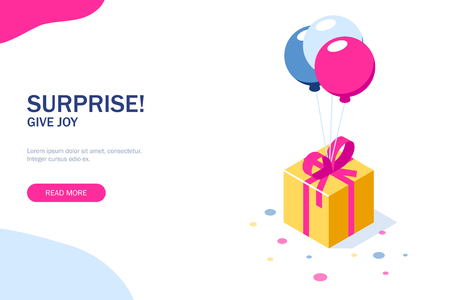 Gift box with ribbon on ballons. Gift symbol. Surprise for a holiday or birthday. Can use for web banner, infographics, hero images. Vector isometric 3d illustration. Standard-Bild - 124884756