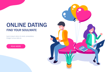 Young girl and a guy chatting sitting on a heart. Use portable devices for dating on the Internet or social networks. Vector isometric 3d illustration. Illustration