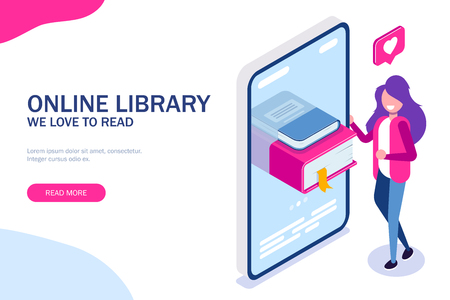 Online library concept. Books in your phone or tablet. Young girl love to read. Can use for web banner, infographics, hero images. Vector isometric 3d illustration. Standard-Bild - 124884758