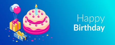 Happy Birthday 3d vector concept. Cake with a candle. Box with gifts and balloons. Can use for web banner, infographics, hero images. Flat isometric vector illustration. Standard-Bild - 124884759