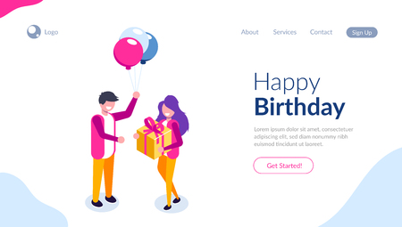 Beautiful boyfriend is presenting a gift to her handsome girl and smiling. Ballon and gift box. Can use for web banner, infographics, hero images. Flat isometric vector illustration. Standard-Bild - 124884761