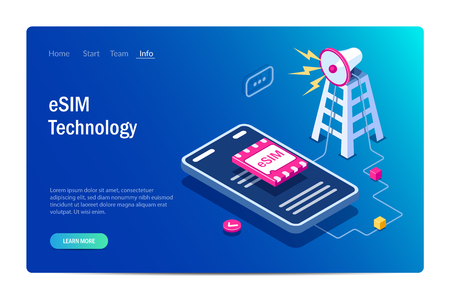 eSIM card chip sign. Gsm tower concept. Futuristic projection sim card. Modern telecommunication technology. Can use for web banner, infographics, hero images. Flat isometric vector illustration.