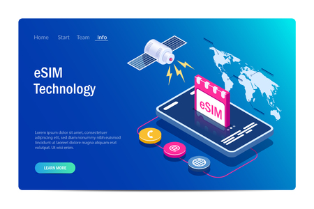 eSIM card chip sign. Embedded SIM concept. New mobile communication technology. Satellite on world map background. Can use for web banner, infographics, hero images. Isometric vector illustration. Standard-Bild - 124884763