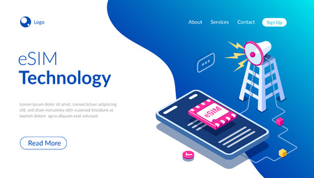 eSIM card chip sign. Gsm tower concept. Futuristic projection sim card. Modern telecommunication technology. Can use for web banner, infographics, hero images. Flat isometric vector illustration. Standard-Bild - 124884768