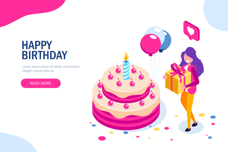 Big birthday cake isometric concept. Happy girl with a gift in hand celebrates the holiday. Can use for web banner, infographics, hero images. Isometric vector illustration. Standard-Bild - 124884773