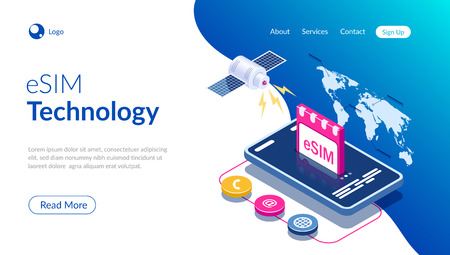 eSIM card chip sign. Embedded SIM concept. New mobile communication technology. Satellite on world map background. Can use for web banner, infographics, hero images. Isometric vector illustration.