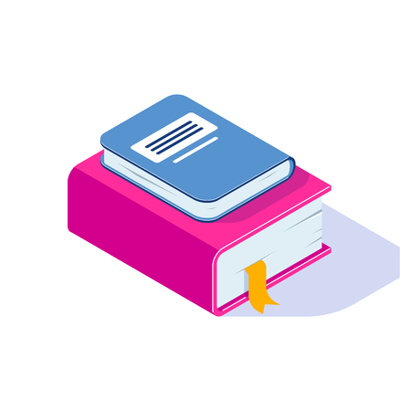 Stack isometric vector book with shadow isolated on white background. Can use for web banner, infographics, hero images. Isometric vector illustration. Standard-Bild - 124884777