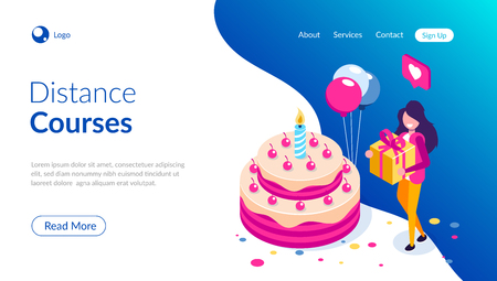 Big birthday cake isometric concept. Happy girl with a gift in hand celebrates the holiday. Can use for web banner, infographics, hero images. Isometric vector illustration. Standard-Bild - 124884784