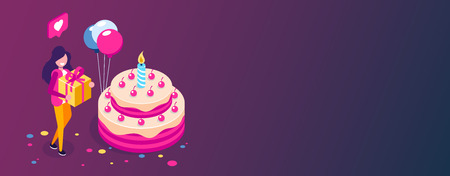 Big birthday cake isometric concept. Happy girl with a gift in hand celebrates the holiday. Can use for web banner, infographics, hero images. Isometric vector illustration. Standard-Bild - 124884788