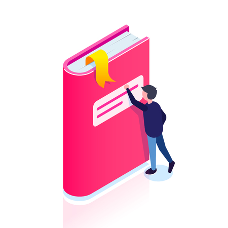 Book icon. Isometric style. Man reaches for a bookmark. Thirst for knowledge. Can use for web banner, infographics, hero images. Vector isometric 3d illustration. Standard-Bild - 124884808