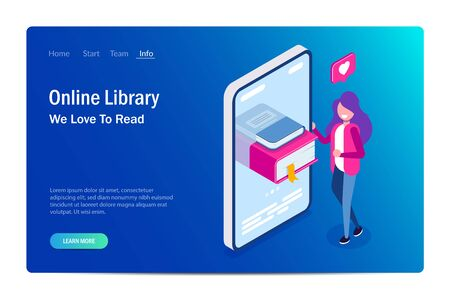 Online library concept. Books in your phone or tablet. Young girl love to read. Can use for web banner, infographics, hero images. Vector isometric 3d illustration. Standard-Bild - 124884815
