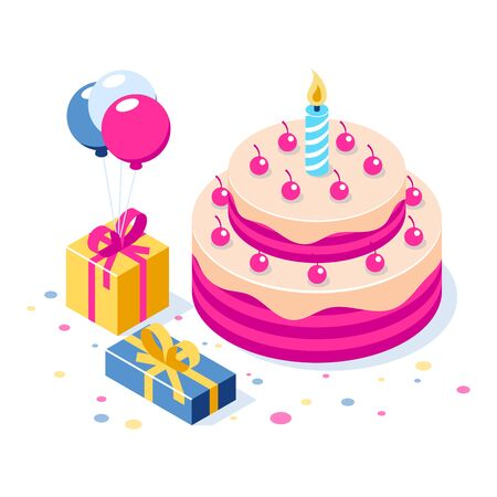 Happy Birthday 3d vector concept. Cake with a candle. Box with gifts and balloons. Can use for web banner, infographics, hero images. Flat isometric vector illustration. Standard-Bild - 124884819