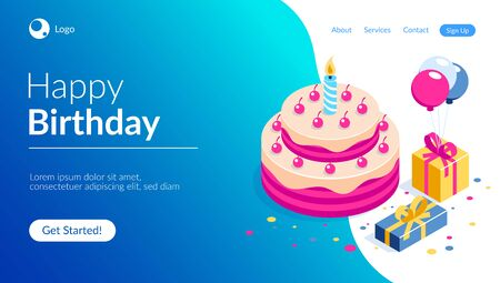 Happy Birthday 3d vector concept. Cake with a candle. Box with gifts and balloons. Can use for web banner, infographics, hero images. Flat isometric vector illustration. Standard-Bild - 124884821