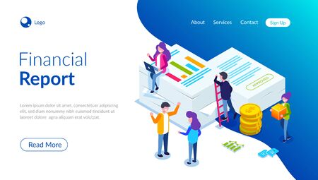 Financial report concept. People do paperwork concept design. Can use for web banner, infographics, hero images. Flat isometric vector illustration. Standard-Bild - 124884822