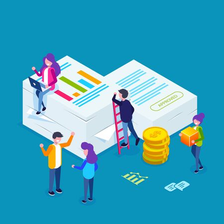 Financial report concept. People do paperwork concept design. Can use for web banner, infographics, hero images. Flat isometric vector illustration. Standard-Bild - 124884833