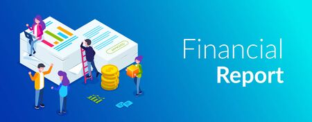 Financial report concept. People do paperwork concept design. Can use for web banner, infographics, hero images. Flat isometric vector illustration. Standard-Bild - 124884836