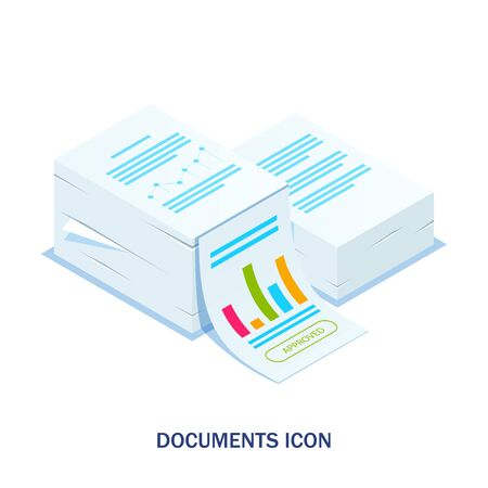 Isometric stack of documents with an approved stamp. Can use for web banner, infographics, hero images. Flat isometric illustration. Standard-Bild - 124884837