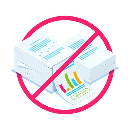 Rejection of documents. Isometric stack of documents. Can use for web banner, infographics, hero images. Flat isometric illustration. Standard-Bild - 124884843