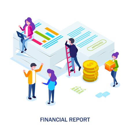 Financial report concept. People do paperwork concept design. Can use for web banner, infographics, hero images. Flat isometric vector illustration.