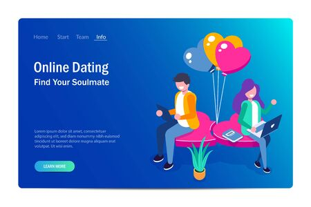 Young girl and a guy chatting sitting on a heart. Use portable devices for dating on the Internet or social networks. Vector isometric 3d illustration. Çizim