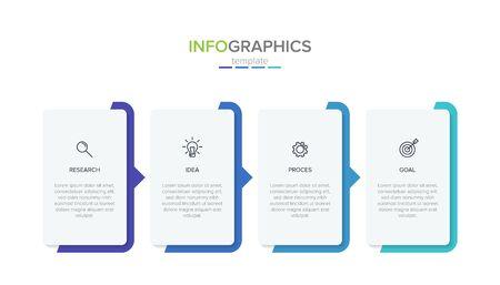 Modèle d'étiquette infographique de vecteur avec des icônes. 4 options ou étapes. Infographie pour le concept d'entreprise. Peut être utilisé pour les graphiques d'informations, les organigrammes, les présentations, les sites Web, les bannières, les documents imprimés