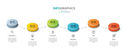Vector infographic label template with icons. 6 options or steps. Isometric Infographics for business concept. Can be used for info graphics, flow charts, presentations, web sites, banners.