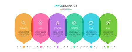 Vector infographic label template with icons. 6 options or steps. Infographics for business concept. Can be used for info graphics, flow charts, presentations, web sites, banners, printed materials Stock Illustratie
