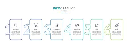 Vector infographic label template with icons. 6 options or steps. Infographics for business concept. Can be used for info graphics, flow charts, presentations, web sites, banners, printed materials Ilustração