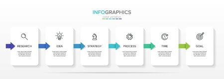 Vector infographic label template with icons. 6 options or steps. Infographics for business concept. Can be used for info graphics, flow charts, presentations, web sites, banners, printed materials. Ilustração
