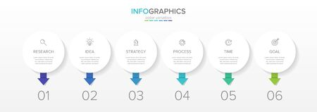 Vector infographic label template with icons. 6 options or steps. Infographics for business concept. Can be used for info graphics, flow charts, presentations, web sites, banners, printed materials. Stockfoto - 127917469
