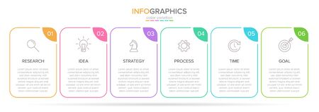 Vector infographic label template with icons. 6 options or steps. Infographics for business concept. Can be used for info graphics, flow charts, presentations, web sites, banners, printed materials. Stock Illustratie