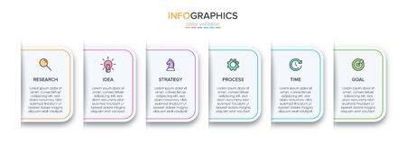Concept of arrow business model with 6 successive steps. Five colorful rectangular elements. Timeline design for brochure, presentation. Infographic design layout Stock Illustratie