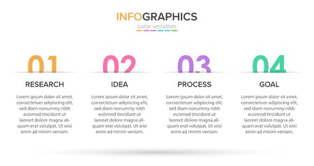 Infographic design with icons and 4 options or steps. Thin line vector. Infographics business concept. Can be used for info graphics, flow charts, presentations, web sites, banners, printed materials Standard-Bild - 128812264