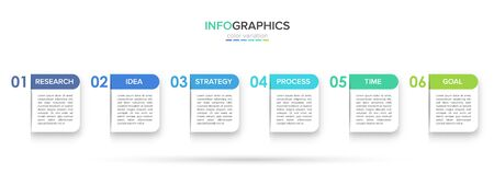 Concept of arrow business model with 6 successive steps. Five colorful rectangular elements. Timeline design for brochure, presentation. Infographic design layout Stockfoto - 128824802