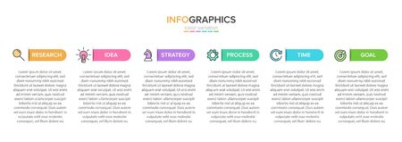 Concept of arrow business model with 6 successive steps. Five colorful rectangular elements. Timeline design for brochure, presentation. Infographic design layout.