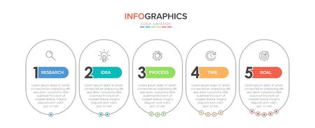 Infographic design with icons and 5 options or steps. Thin line vector. Infographics business concept. Can be used for info graphics, flow charts, presentations, web sites, banners, printed materials