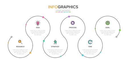 Concept of arrow business model with 6 successive steps. Five colorful rectangular elements. Timeline design for brochure, presentation. Infographic design layout Ilustrace
