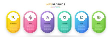 Concept of arrow business model with 6 successive steps. Five colorful rectangular elements. Timeline design for brochure, presentation. Infographic design layout Иллюстрация