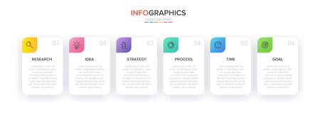 Concept of arrow business model with 6 successive steps. Five colorful rectangular elements. Timeline design for brochure, presentation. Infographic design layout Ilustração
