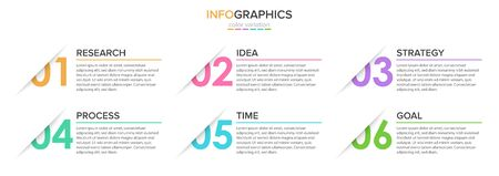 Concept of arrow business model with 6 successive steps. Five colorful rectangular elements. Timeline design for brochure, presentation. Infographic design layout Foto de archivo - 130819084