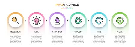 Concept of arrow business model with 6 successive steps. Five colorful rectangular elements. Timeline design for brochure, presentation. Infographic design layout.