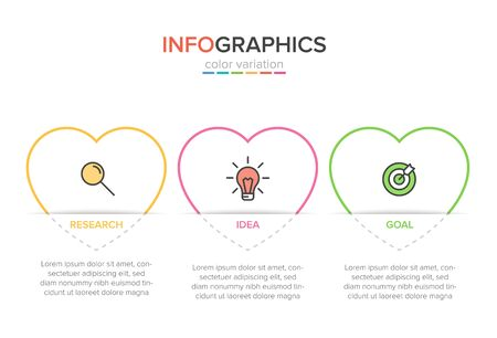 Concept of arrow business model with 3 successive steps. Three colorful graphic elements. Timeline design for brochure, presentation. Infographic design layout 向量圖像