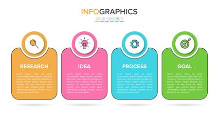 Concept of arrow business model with 4 successive steps. Four colorful rectangular elements. Timeline design for brochure, presentation. Infographic design layout