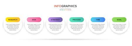 Concept of arrow business model with 6 successive steps. Five colorful rectangular elements. Timeline design for brochure, presentation. Infographic design layout Ilustracja