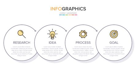 Infographic design with icons and 4 options or steps. Thin line vector. Infographics business concept. Can be used for info graphics, flow charts, presentations, web sites, banners, printed materials Ilustração Vetorial