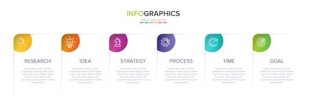 Concept of arrow business model with 6 successive steps. Six colorful graphic elements. Timeline design for brochure, presentation. Infographic design layout