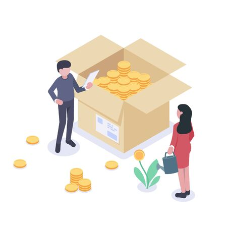 People characters stand near boxes with coins and money. The concept of increasing revenue growth and profits. Woman is watering a money tree. Man puts coins into a box. Flat vector isometric Ilustrace
