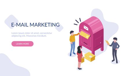 People Characters Stand Near a Large Mailbox and Send Letters. A man and a woman are holding a mail envelope. The concept of email marketing. Flat isometric vector illustration